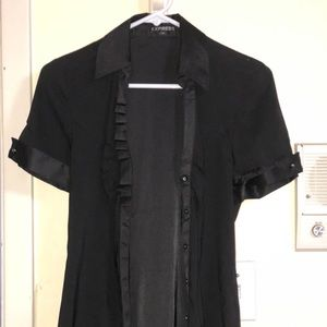 Short-sleeved black button down shirt from express
